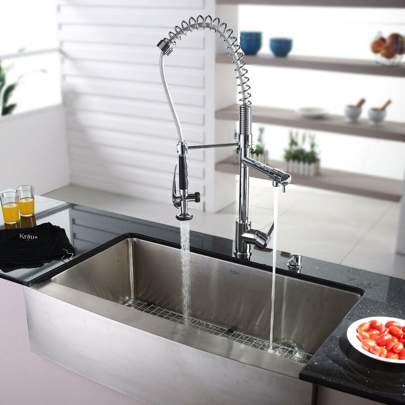 "Kraus 36"" X 21"" Farmhouse Kitchen Sink With Faucet And Soap"