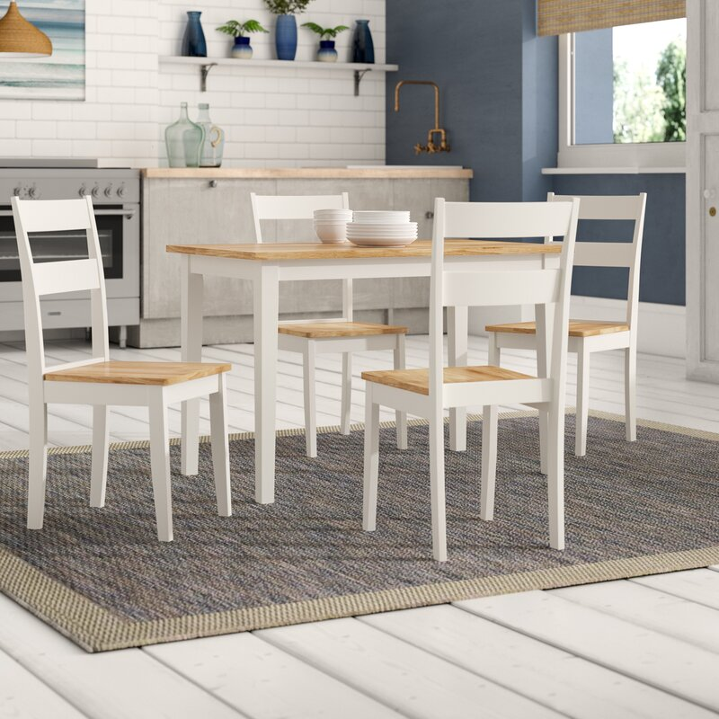 breakwater bay beecher falls dining set with 4 chairs