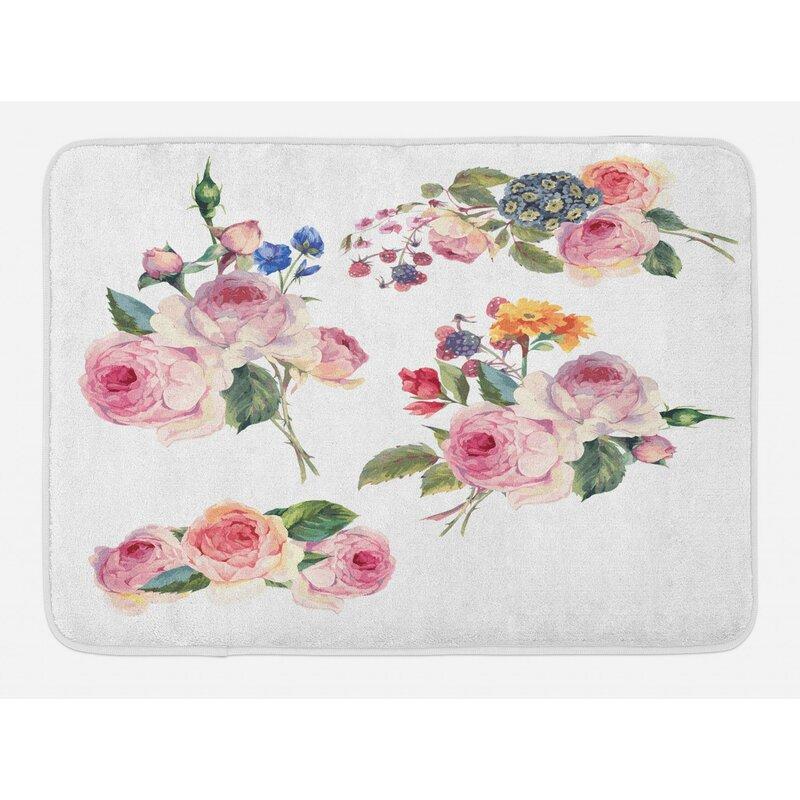 Vintage Fl Rose Bath Rug