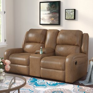 Clevenger Leather Reclining Loveseat by Andover Mills