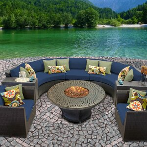 Barbados Outdoor Wicker 8 Piece Fire Pit Seating Group with Cushion