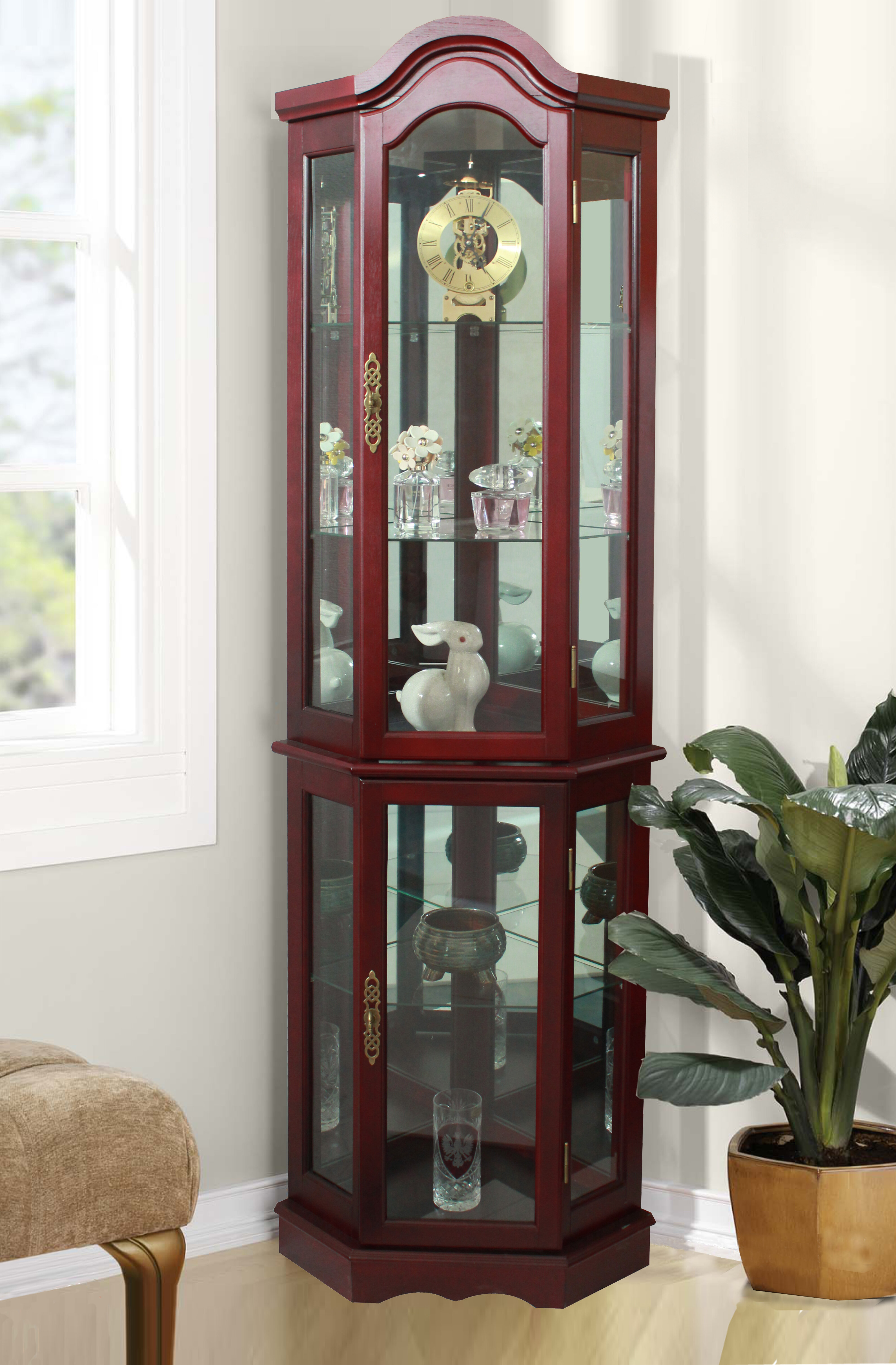 click ambridge to cabinet p corner lighted curio expand