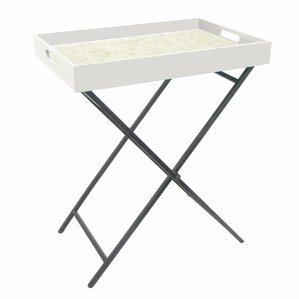 Ellyn Attractive Wood Metal Serving Tray Table by Ebern Designs