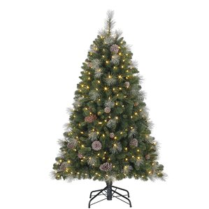 5u0027 Green/Silver Fir Artificial Christmas Tree With 300 Colored U0026 White  Lights With