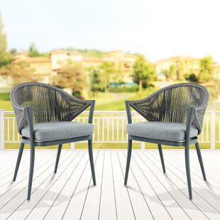 Mukul Patio Dining Chair With Cushion Set Of 2