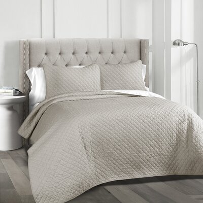The Twillery Co. Shuler 3 Piece Quilt Set Color: Gray, Size: King
