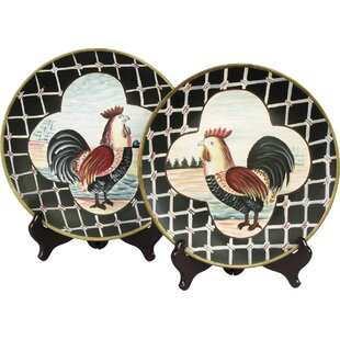 2 Piece Rooster Plate Set  sc 1 st  Wayfair & Black And White Rooster Plates | Wayfair
