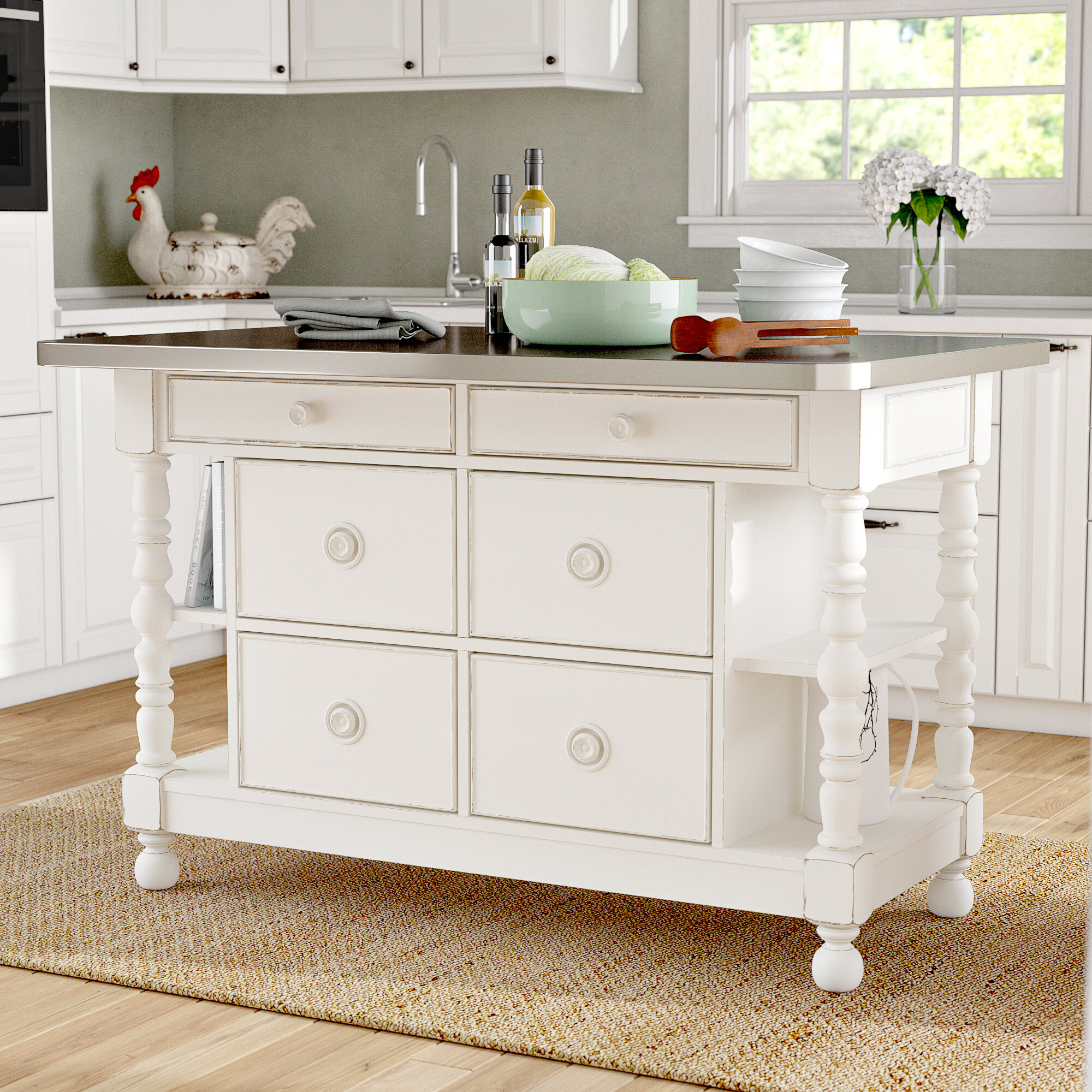 August Grove Tennille Kitchen Island With Stainless Steel Top Reviews Wayfair