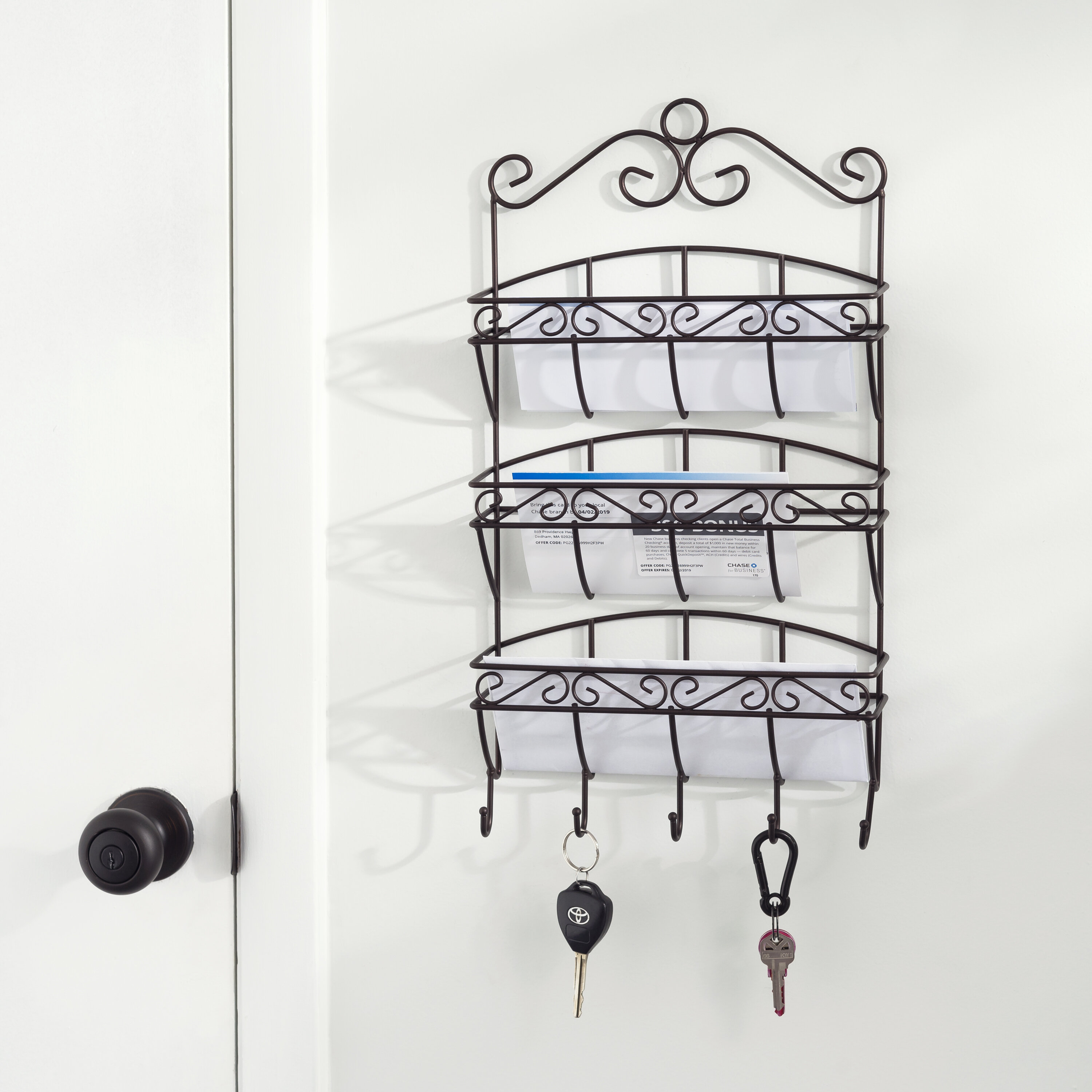 Izidora Scroll 3 Tier Steel Letter Rack Wall Key Organizer with Wall Basket