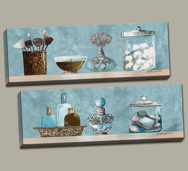 Red Barrel Studio \'Powder Blue Bathroom Scenes Panels\' 2 Piece ...