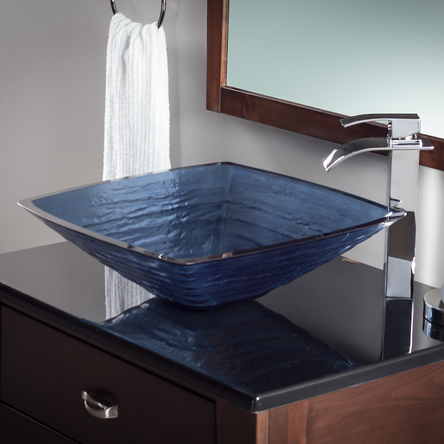Novatto Frosted Glass Square Vessel Bathroom Sink & Reviews   Wayfair