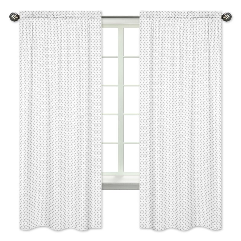 ordinary Polka Dot Curtains Panels Part - 14: Floral Polka Dot Rod Pocket Window Curtain Panels