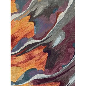 Annan Hand Tufted Orange/Crimson Indoor Area Rug