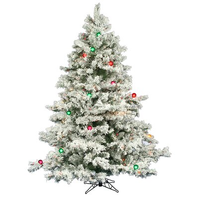 flocked alaskan 65 white artificial christmas tree with 600 multicolored lights with metal stand - White Pine Christmas Tree