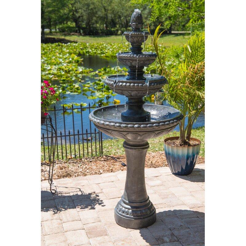 Fleur De Lis Living Dane Resin Outdoor Floor Fountain With Light Reviews Wayfair