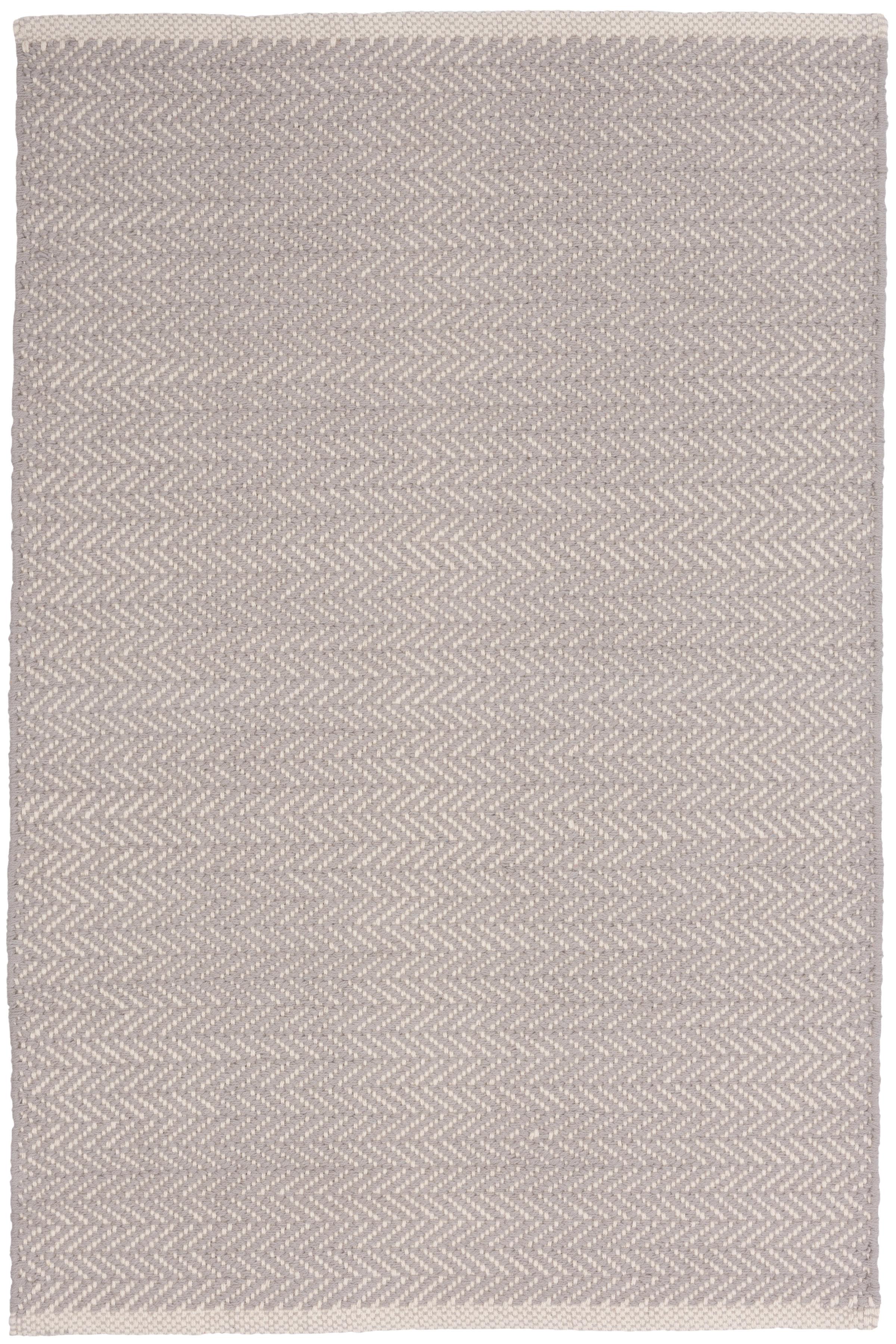 Herringbone Hand Woven Grey Area Rug