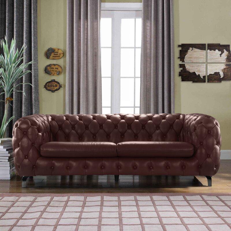 Yuliya Leather Chesterfield Sofa | Joss & Main