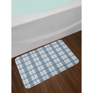 Checkered Scottish Tartan Plaid Texture Image Rural Non Slip Plush Bath Rug