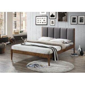 rachele midcentury fabric and wood platform bed
