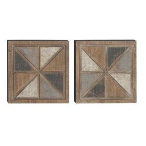 'Rustic Square Geometric' 2 Piece Framed Graphic Art Print Set on Wood