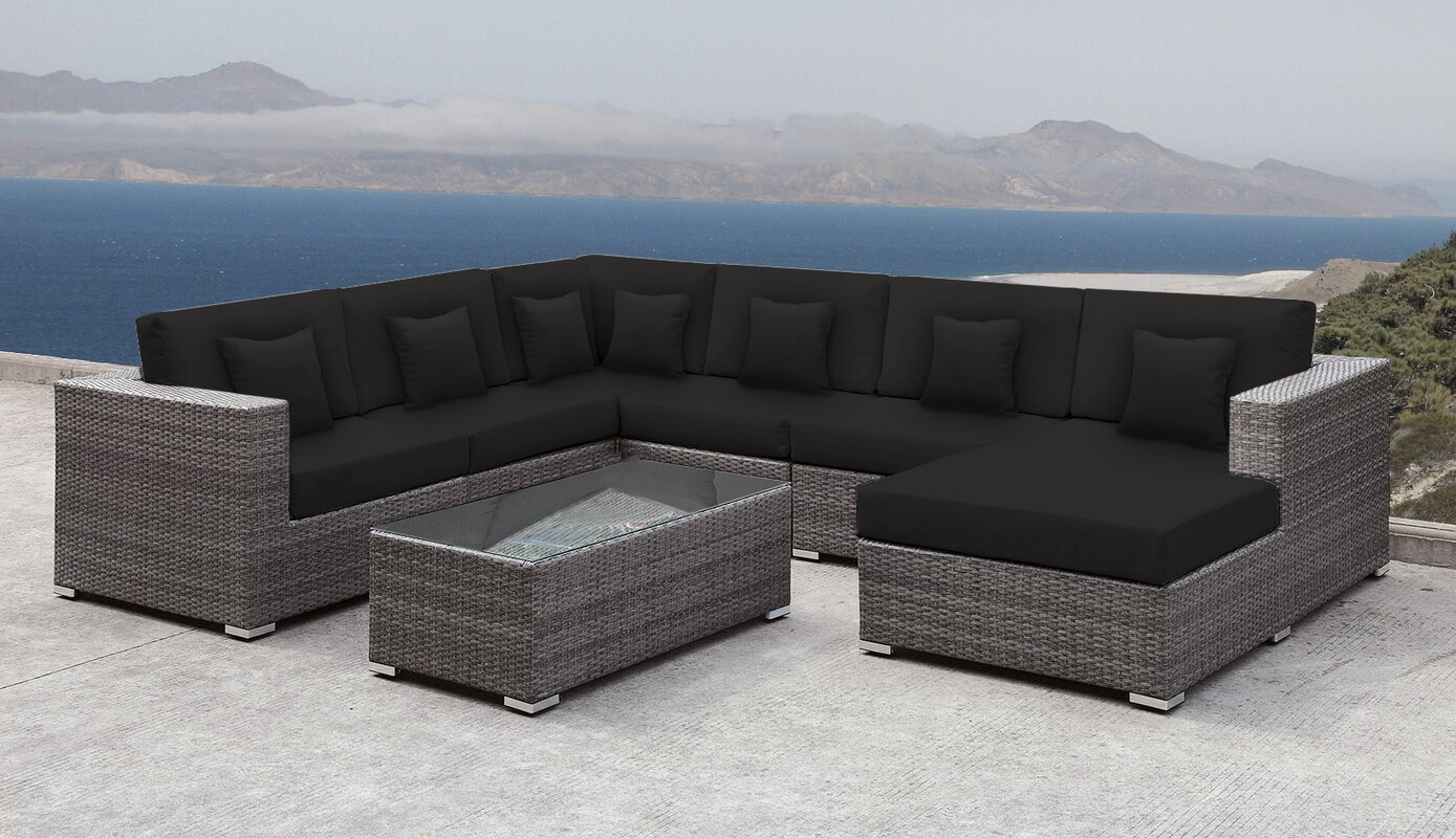 Lusso Patio Rattan 7 Piece Sectional Seating Group With Cushions And Square  Toss Pillows