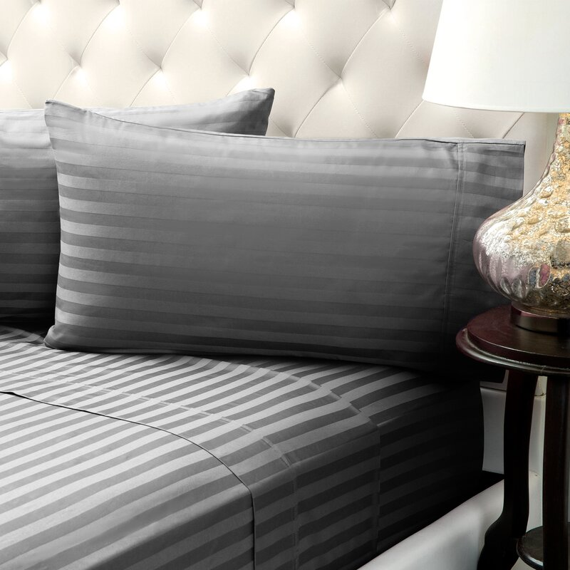 Solid Stripe Wrinkle Free Bed 1200 Thread Count 4 Piece Sheet Set