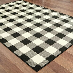 Wiest Gingham Check Black Ivory Indoor Outdoor Area Rug