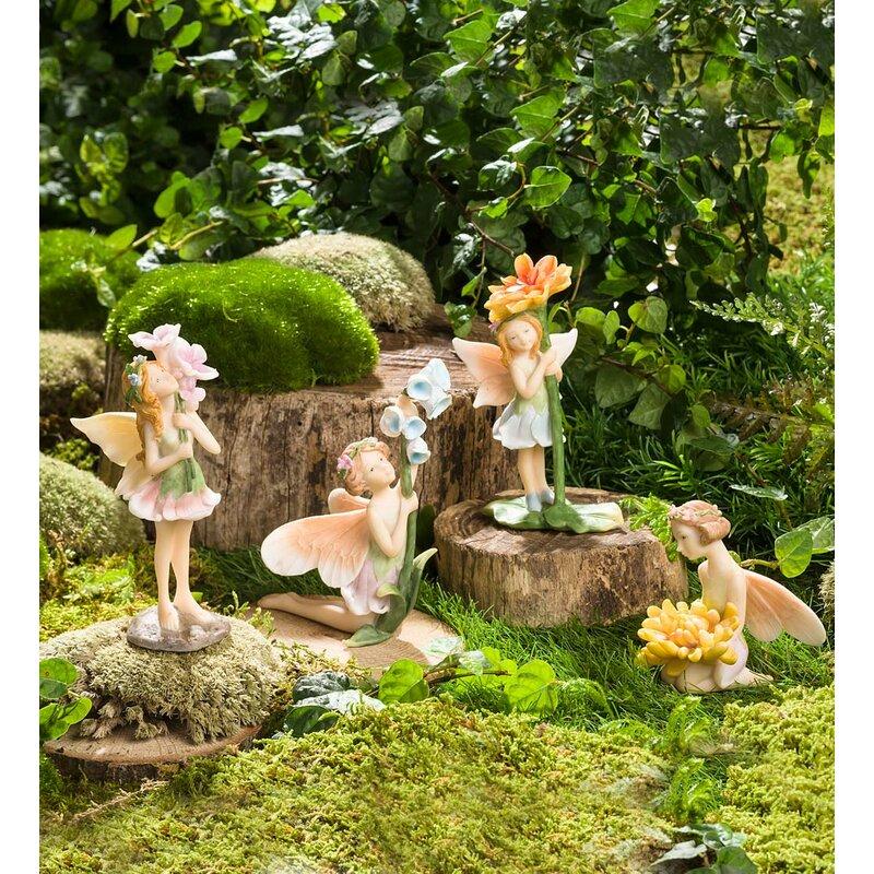 Superbe Miniature Flower Pixies 4 Piece Fairy Garden Set
