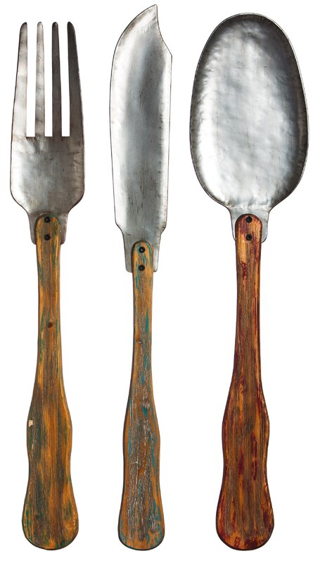 3 Pieces Wall Decor For Living Room: Laurel Foundry Modern Farmhouse 3 Piece Knife, Fork And