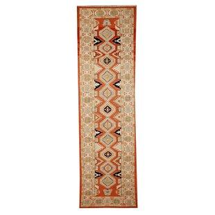 Summak Hand-Woven Wool Beige/Orange Area Rug by Caracella