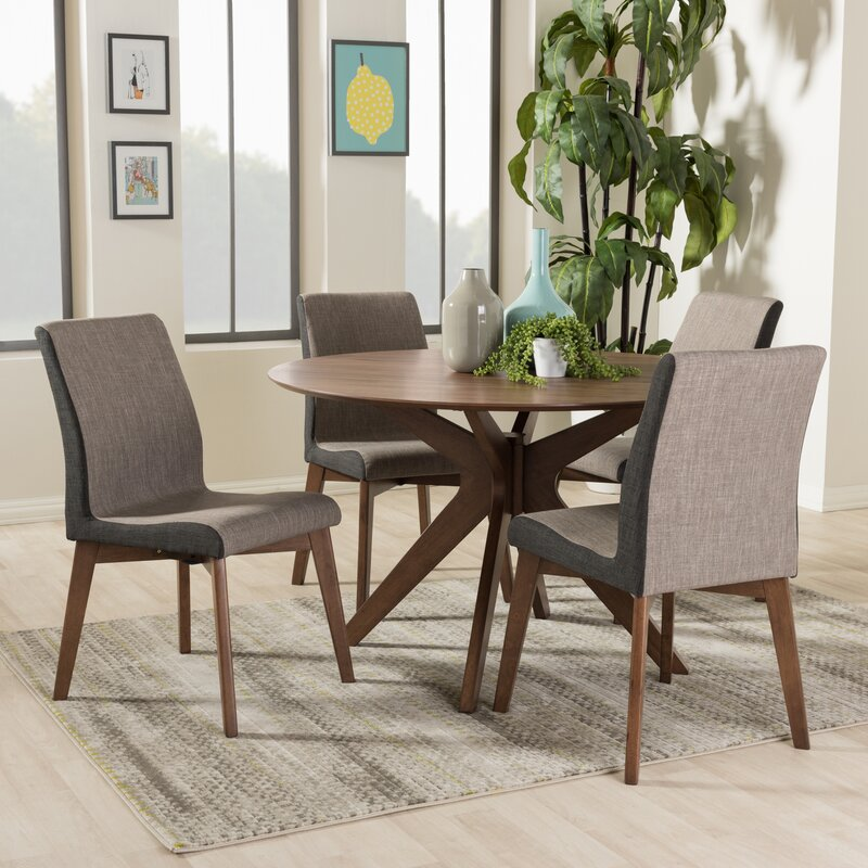Kimberly Mid Century Modern Wood Round 5 Piece Dining Set