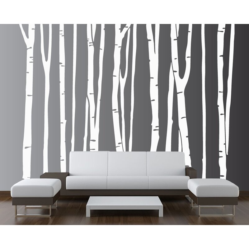 Innovative Stencils Birch Tree Forest Kids Wall Decal & Reviews | Wayfair : decals wall forest - www.pureclipart.com