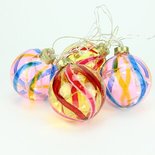 4 piece battery operated pink and yellow swirl glass ball led lighted christmas ornament set