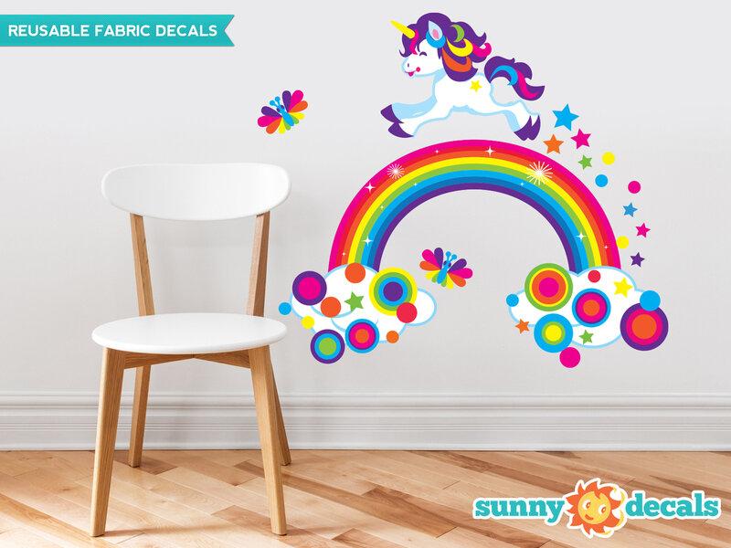 sunny decals unicorn and rainbow fabric wall decal   wayfair