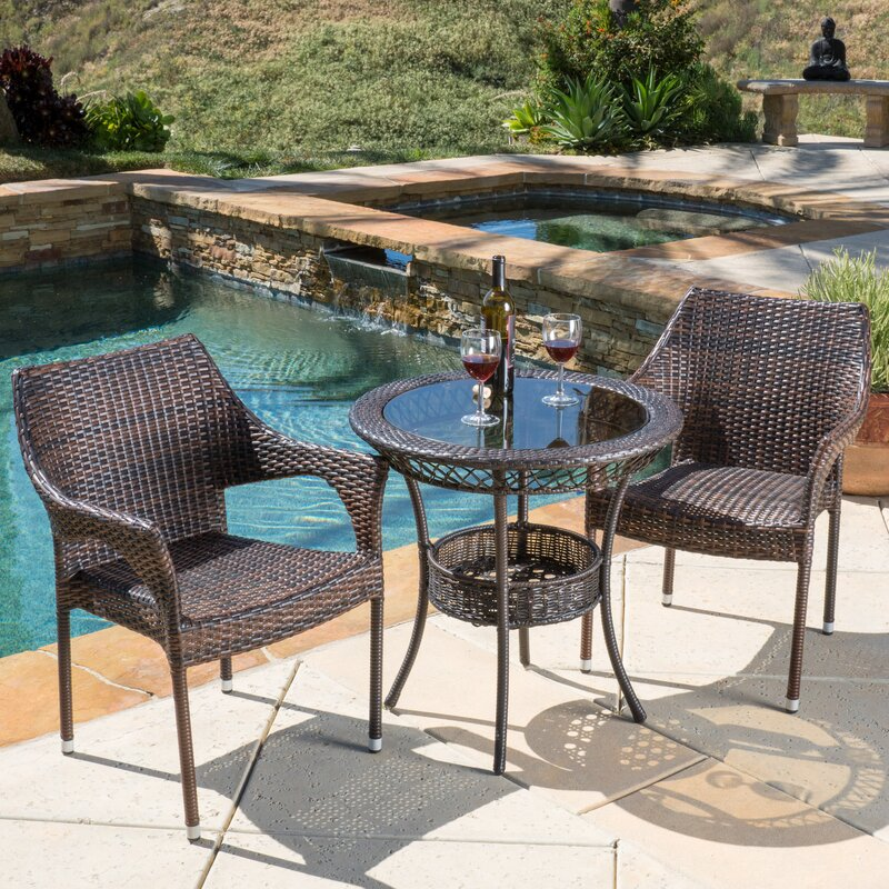 3 piece bistro set Highland Dunes Tudor City 3 Piece Bistro Set & Reviews | Wayfair 3 piece bistro set