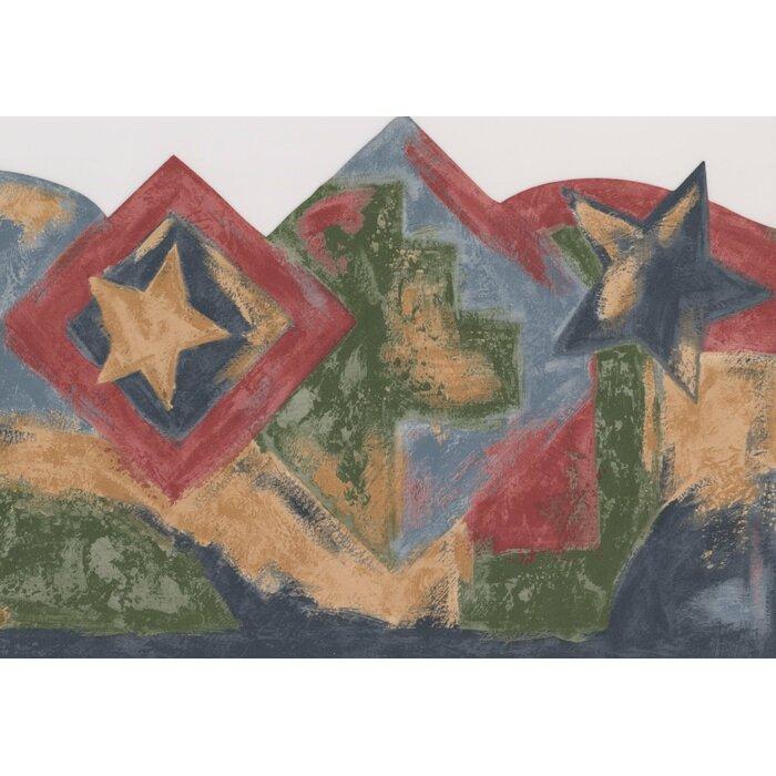 Amorita Faux Painted Stars Squares 15 L X 8 W Abstract Wallpaper Border