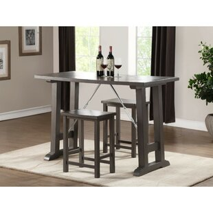 Doutzen Transitional Wooden Counter Height 3 Piece Pub Table Set (Set of 3)