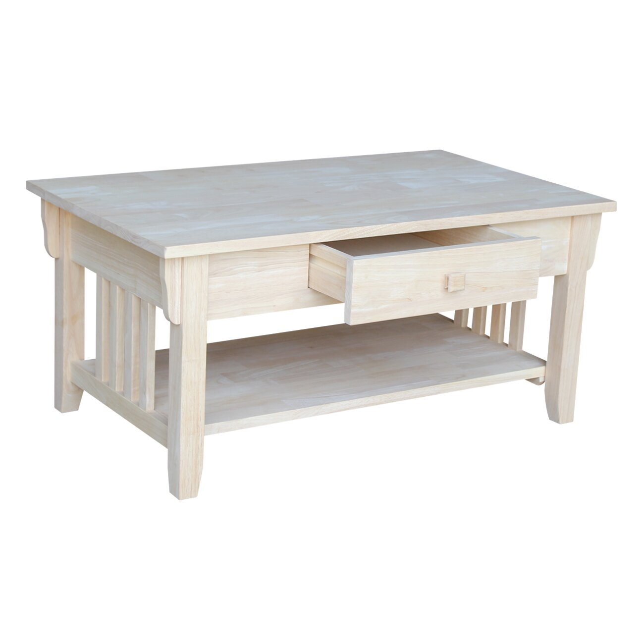 International concepts unfinished wood coffee table for Unfinished coffee table