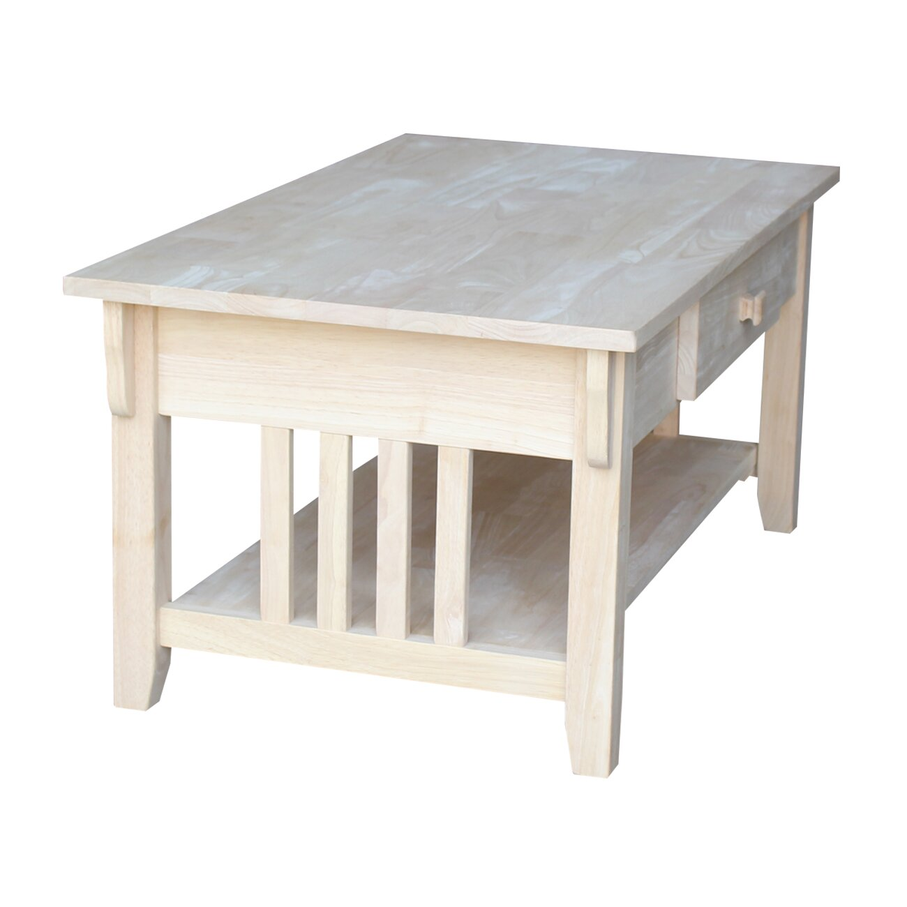 Unfinished Wood Coffee Table - International Concepts Unfinished Wood Coffee Table & Reviews