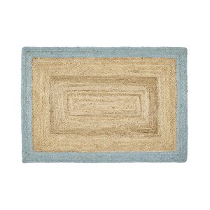Handgemachter Teppich Borders Jute in Zartgrün