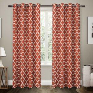 Lovely Stanton Geometric Semi Opaque Grommet Curtain Panels (Set Of 2)