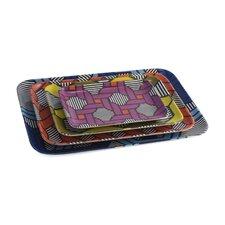 Geometric Melamine 4 Piece Serving Platter Set