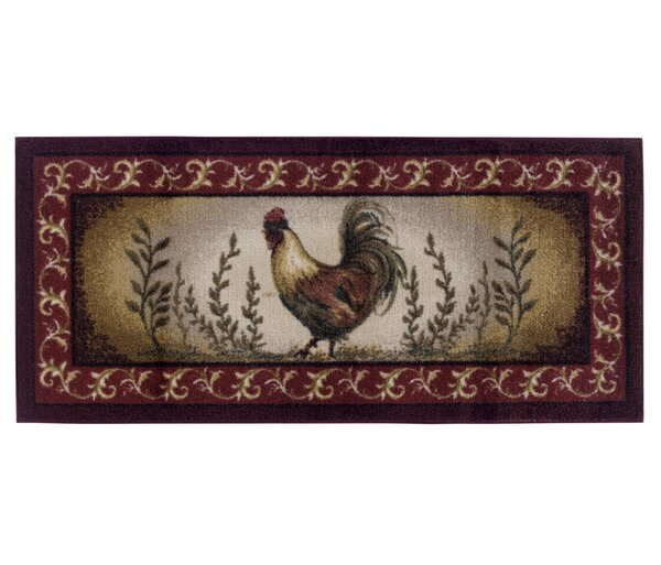 Brumlow Mills Prancing Rooster Kitchen Novelty Rug