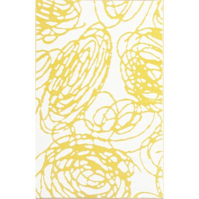 Mad Mats Doodle Hand Woven Yellow/White Indoor/Outdoor Area Rug