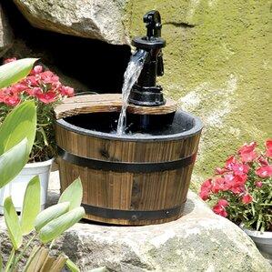Wood/Metal Wood Barrel Outdoor Water Fountain