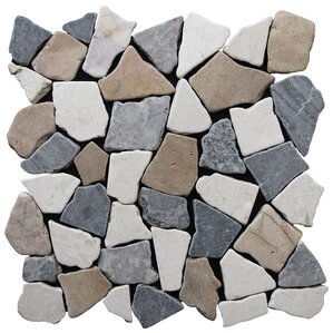 fit random sized natural stone pebble tile in tan grey blend