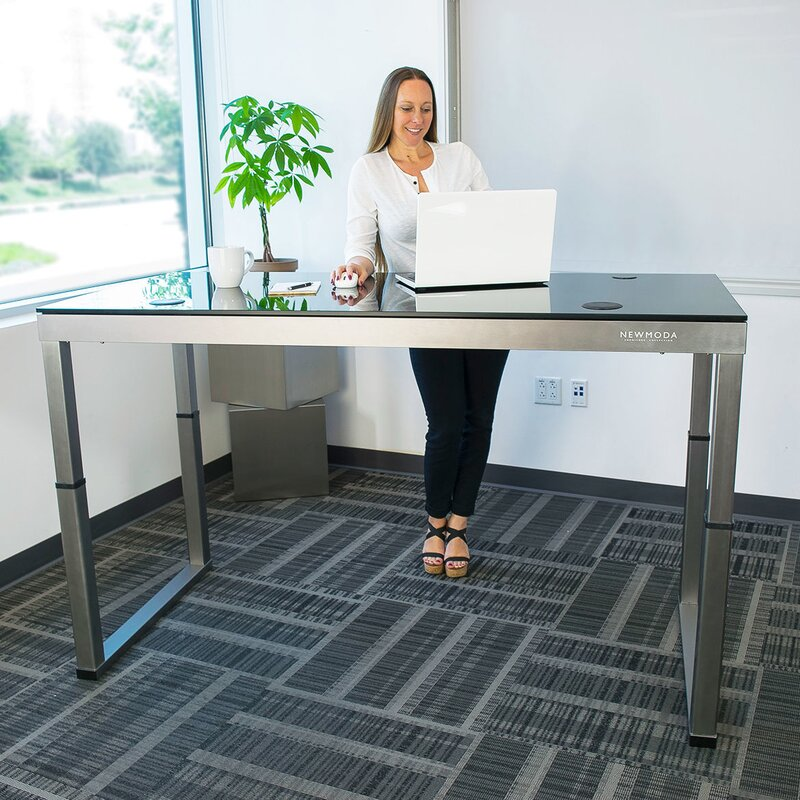 Latitude Run Oanh Adjustable Height Motorized Standing Desk Wayfair