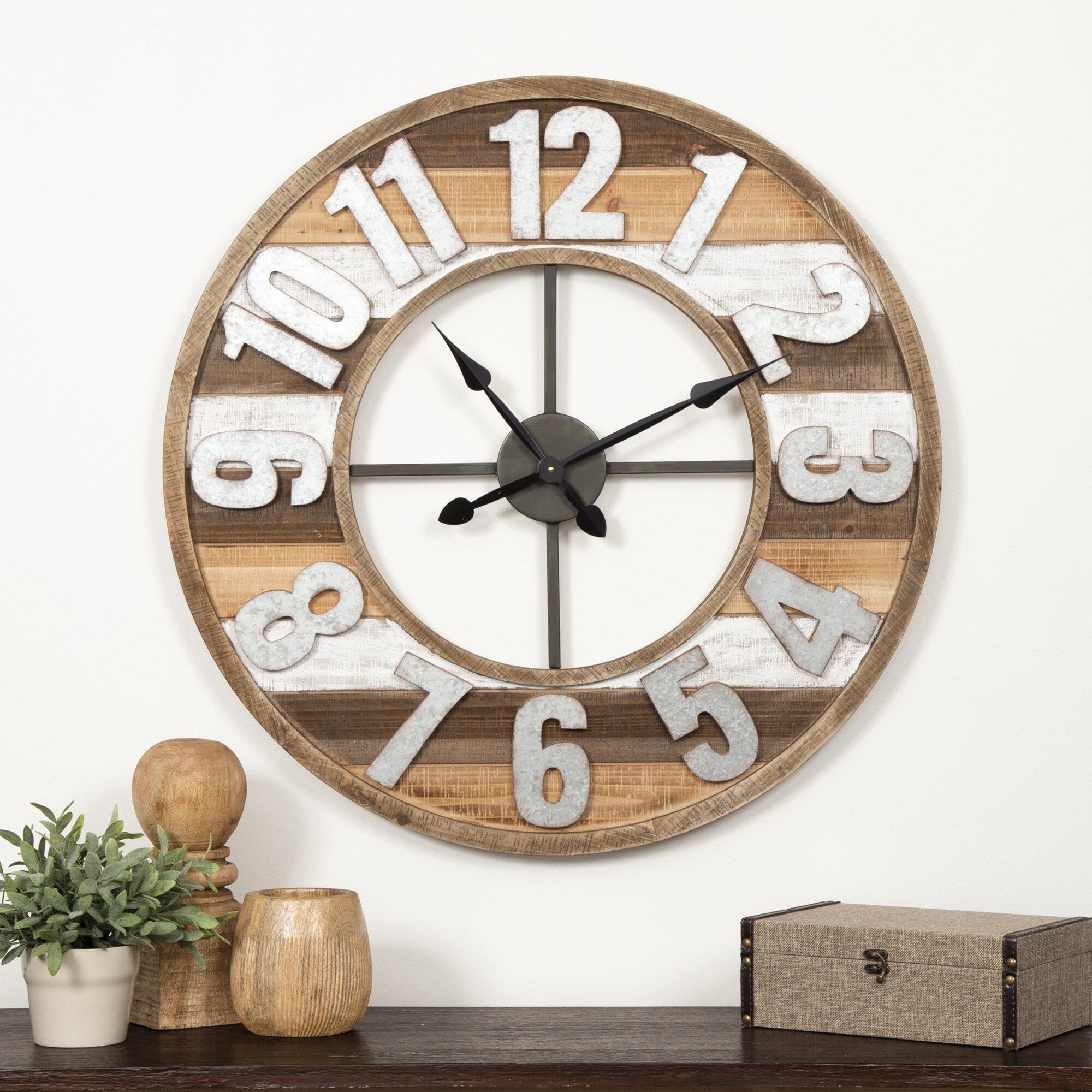 Gracie oaks oversized glaucio rustic 33 wall clock wayfair