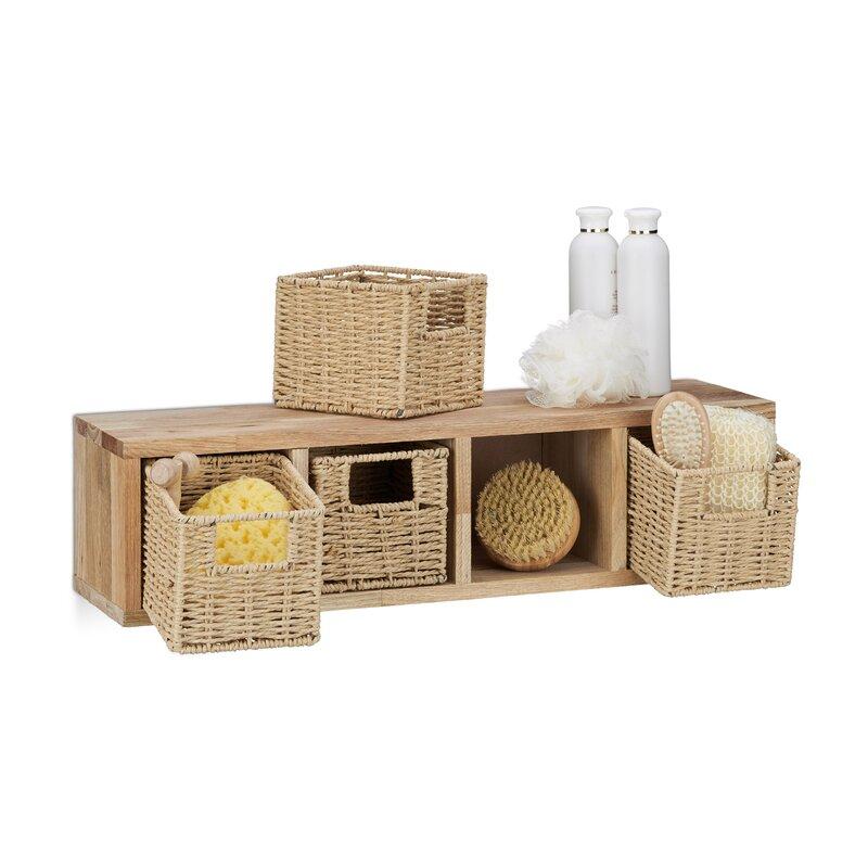 Walnut Cube 16cm 4 Shelf Shelving Unit