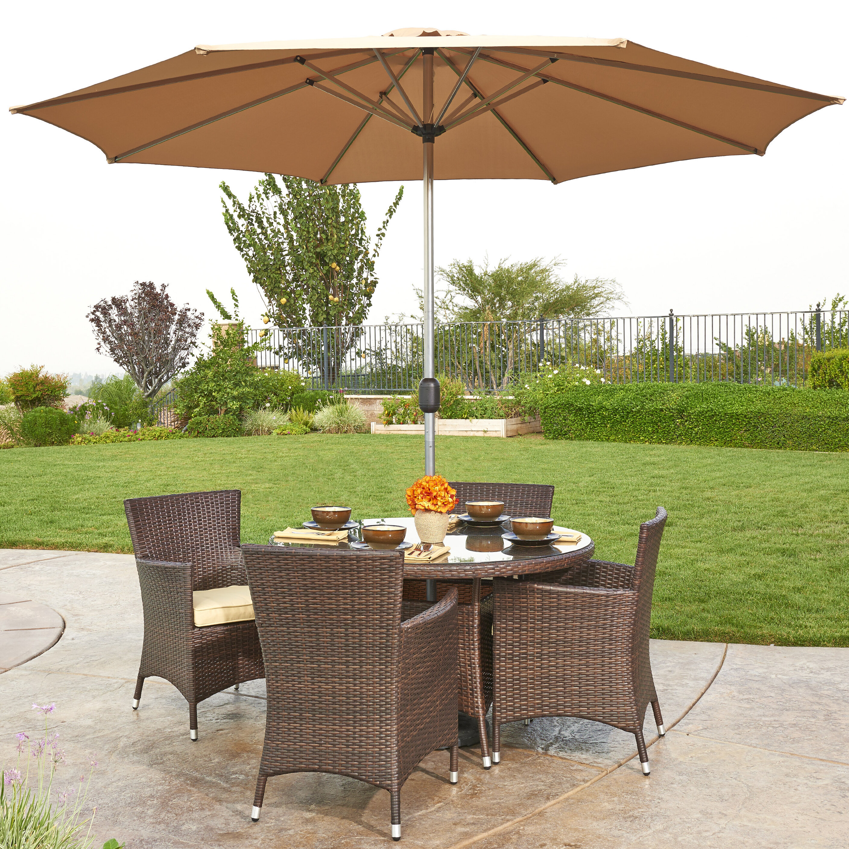 W Unlimited Gita 6 Piece Outdoor Wicker Dining Set With Cushions And Umbrella Wayfair Ca